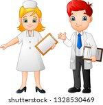 cartoon happy doctor and nurse | Shutterstock .eps vector #1328530469
