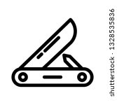pocket knife icon outline vector