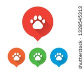 colorful round long shadow paw...   Shutterstock .eps vector #1328545313