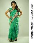 pretty asian woman wering green ... | Shutterstock . vector #132855650