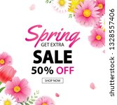 spring sale square banner with... | Shutterstock .eps vector #1328557406