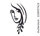 quick sketch of female face on...   Shutterstock .eps vector #1328557613