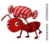 Cartoon Ants Carry Candy...