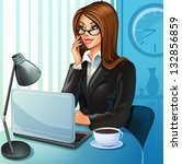 business woman with a laptop | Shutterstock .eps vector #132856859