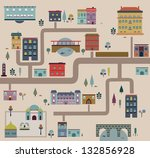 set of city streets... | Shutterstock .eps vector #132856928