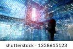 double exposure gears mechanism ... | Shutterstock . vector #1328615123