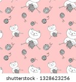 cute cat knits with threads in...   Shutterstock .eps vector #1328623256