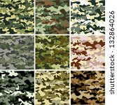9 set of camouflage pattern | Shutterstock .eps vector #132864026