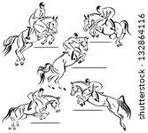 jumping riders. brush drawing... | Shutterstock .eps vector #132864116