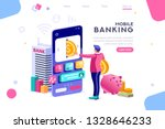 bank holding coin on smartphone.... | Shutterstock .eps vector #1328646233