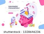 depositing  banknote banner.... | Shutterstock .eps vector #1328646236