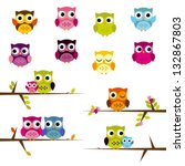 Stock vector cute vector set of owls 132867803