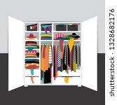 open wardrobe  closet...   Shutterstock .eps vector #1328682176