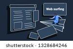 man flying on paper plane to... | Shutterstock .eps vector #1328684246