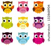 Stock vector cute vector collection of bright owls 132868904