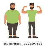 sad fat and happy healthy slim... | Shutterstock .eps vector #1328697536