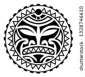 face  sun maori style tattoo ... | Shutterstock .eps vector #1328746610