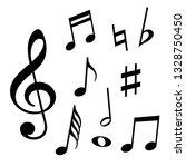 set of music notes. black... | Shutterstock .eps vector #1328750450