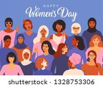 female diverse faces of... | Shutterstock . vector #1328753306