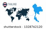Thailand Map Located On A World ...