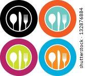 silhouette of knife  fork and... | Shutterstock .eps vector #132876884