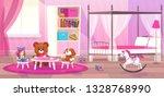 bed room girl. child bedroom... | Shutterstock .eps vector #1328768990
