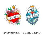 set of classic tattoo    heart... | Shutterstock .eps vector #1328785340