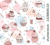 cupcakes seamless pattern with...   Shutterstock .eps vector #1328808110