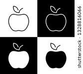 flat monochrome apple icon set...