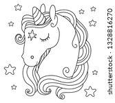 cute unicorn. black and white... | Shutterstock .eps vector #1328816270