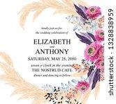 floral wedding invitation peony ...   Shutterstock .eps vector #1328838959