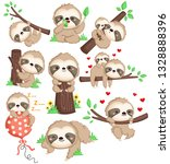a vector of a cute sloth in... | Shutterstock .eps vector #1328888396