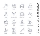 set of 16 thin linear icons... | Shutterstock .eps vector #1328910140
