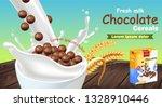 fresh chocolate cereals in milk ... | Shutterstock .eps vector #1328910446
