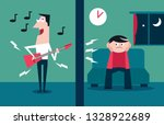 noisy neighbour playing loud... | Shutterstock .eps vector #1328922689