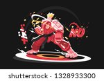 karate man in kimono vector...   Shutterstock .eps vector #1328933300