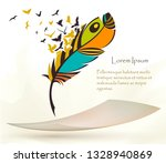 writing old colorful feather... | Shutterstock .eps vector #1328940869