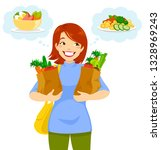 woman carrying groceries and... | Shutterstock .eps vector #1328969243
