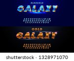 gold font and alphabet. set of... | Shutterstock .eps vector #1328971070
