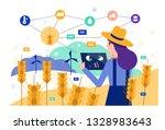 smart farmer using tablet to... | Shutterstock .eps vector #1328983643