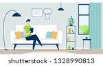 grey color modern interior... | Shutterstock .eps vector #1328990813