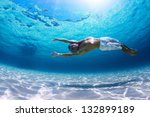 young man diving on a breath... | Shutterstock . vector #132899189