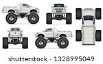 monster truck vector mockup for ... | Shutterstock .eps vector #1328995049