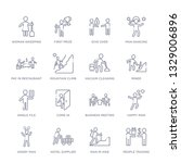 set of 16 thin linear icons... | Shutterstock .eps vector #1329006896