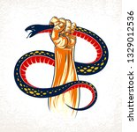 hand squeezes a snake  fight... | Shutterstock .eps vector #1329012536