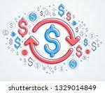 dollar sign and loop arrow ... | Shutterstock .eps vector #1329014849