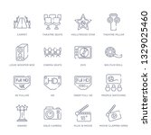 set of 16 thin linear icons... | Shutterstock .eps vector #1329025460