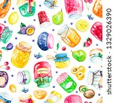 seamless pattern with jars of... | Shutterstock . vector #1329026390