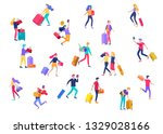 different people travel on... | Shutterstock .eps vector #1329028166