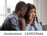 caring african american husband ... | Shutterstock . vector #1329029666